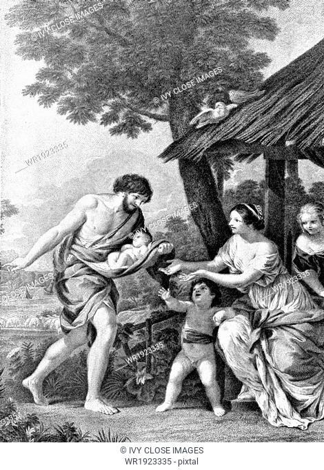 This early 20th-century illustration shows the shepherd faustulus (left) bringing home to his wife the two boys he found