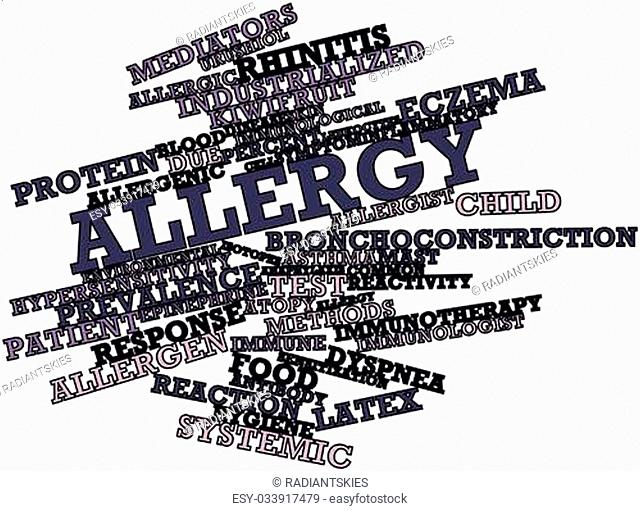 Abstract word cloud for Allergy with related tags and terms