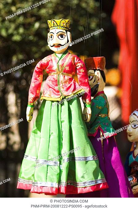 Close-up of traditional Rajasthani puppets, New Delhi, India
