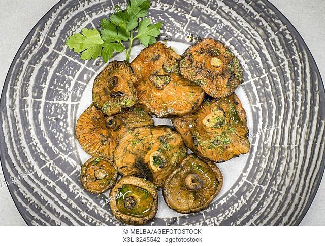 Grilled mushrooms. Restaurant Can Formiga. Pineda de Mar. Catalunya. Spain
