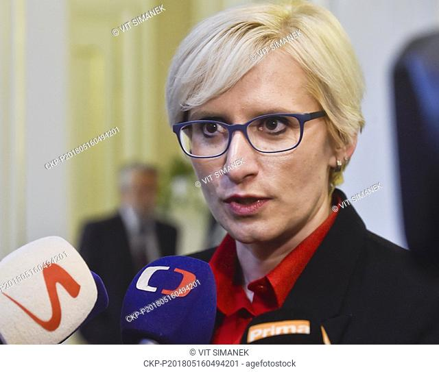 Defence Minister Karla Slechtova speaks to journalists after the meeting to deal with report of secret services on Novichok agent worked out for President Milos...