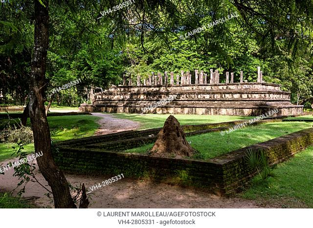 Vijayabahu Palace Ruins and the Council Chamber in the background. Ancient City of Polonnaruwa, North Central Province, Sri Lanka, Asia