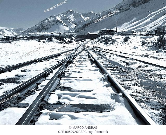 a rail covered with ice at mendoza in argentina