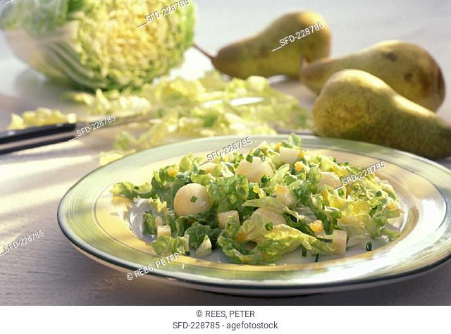 Chinese cabbage and pear salad with chives
