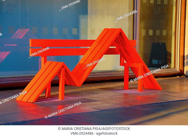 Modified Social Benches, art installation by Danish artist Jeppe Hein, in the Southbank Centre, London, UK