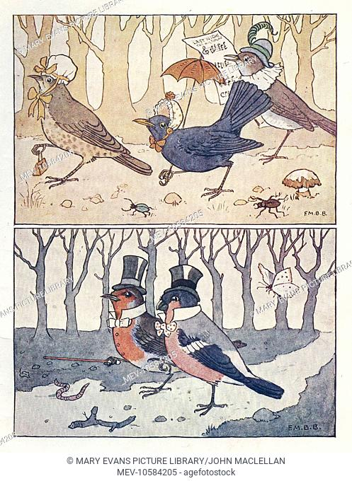 Nursery Rhymes -- The Wedding of Robin Redbreast and Jenny Wren. Three guests (above), and Robin with his best man, the Bullfinch (below)