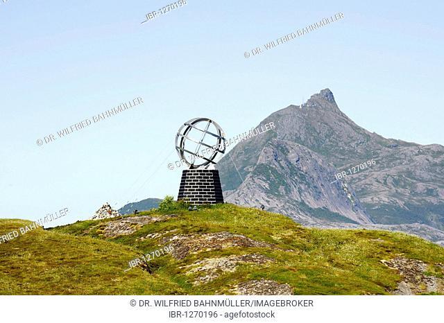 Landmark polar circle, Norwegian Sea, Norway, Scandinavia, Europe