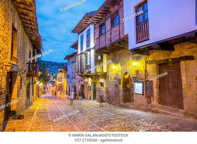 Main street, night view. Santillana del Mar, Cantabria, Spain