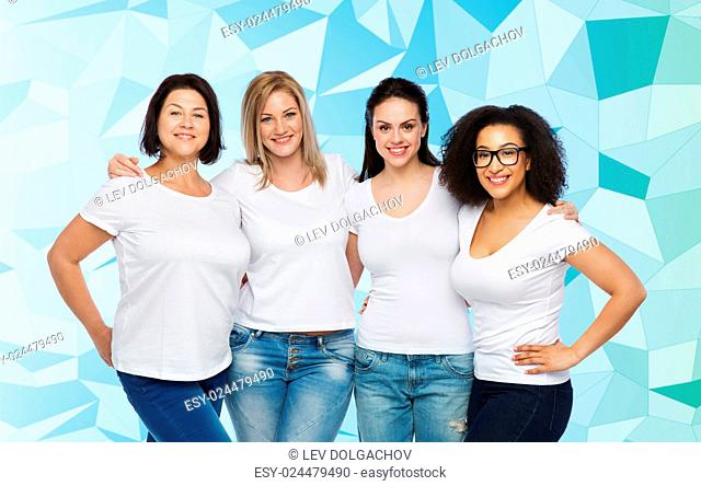 friendship, diverse, body positive and people concept - group of happy different size women in white t-shirts hugging over blue low poly background