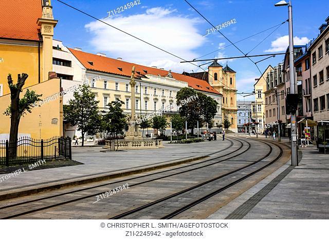 Old buildings and tram lines in Kapucinska street Bratislava