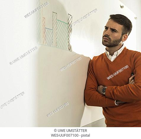 Young man in office looking on whiteboard