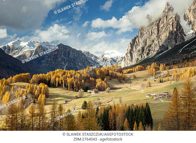 Sunny autumn day in the Dolomites near Cortina d'Ampezzo, Belluno province, Veneto region, Italy. Dolomites