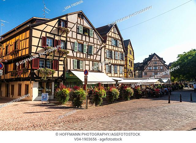 Picturesque timbered houses in Colmar, Alsace, France, Europe