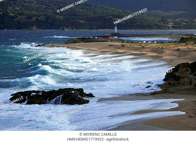 France, Corse du Sud, Propriano, beach and lighthouse in the background