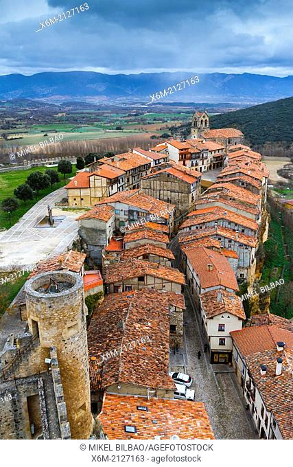Village from the castle. Frias, Burgos, Castile and Leon. Spain, Europe