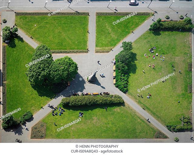 Aerial view of Austurvollur Park, Reykjavik, Iceland