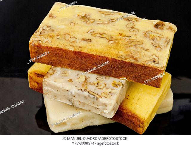 Still life with varied 'turrones' (typical nougat confection). Spain