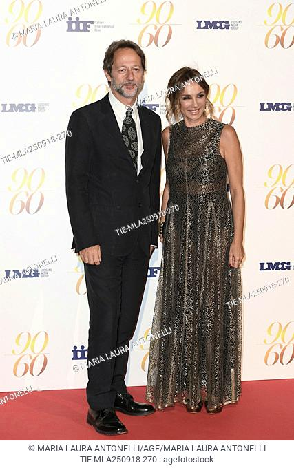 Paola Lucisano, Luca Bergamo during red carpet of 60/90 party, for 60 years of career and ninetieth birthday of Fulvio Lucisano, Italian Film Producer