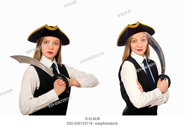 Woman pirate isolated on the white