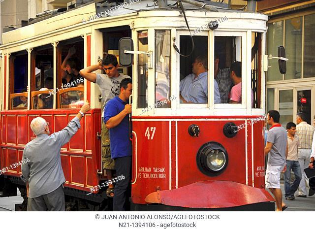 Tramway at Istiklal Caddesi, Istanbul, Turkey