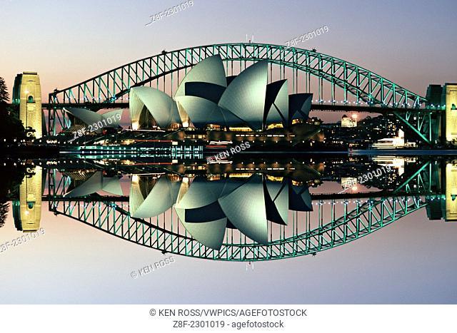 Sydney Opera House & Bridge, Sydney, Australia (retouched)