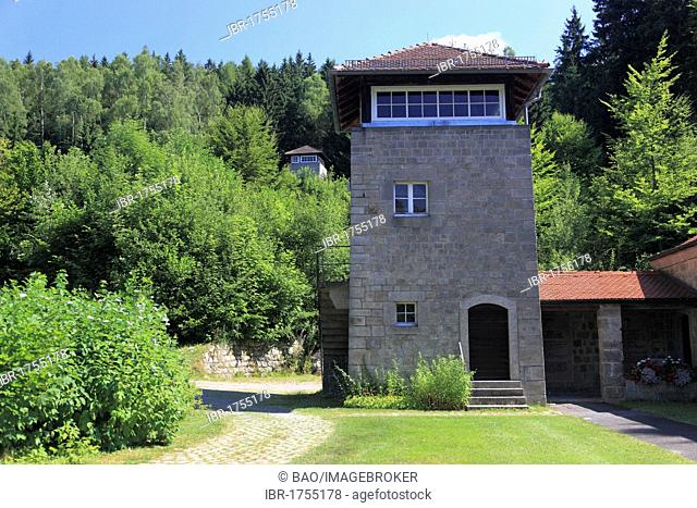 Former guard tower in Flossenbuerg Concentration Camp Memorial, district of Neustadt an der Waldnaab, Upper Palatinate, Bavaria, Germany, Europe