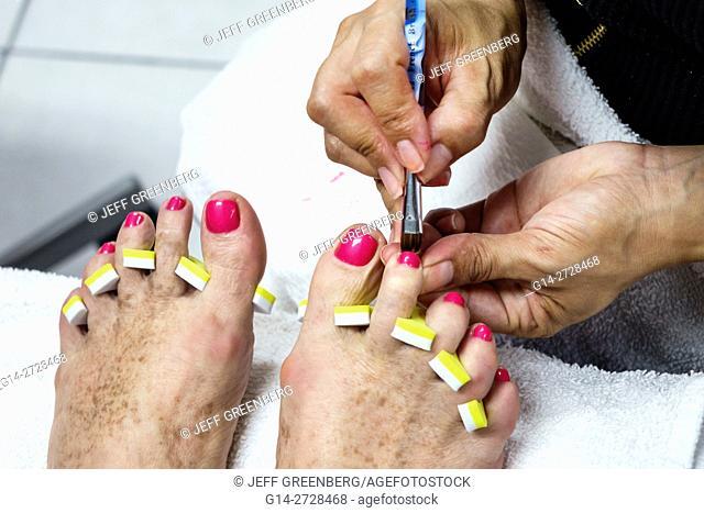 Florida, Miami, Coral Way, beauty salon, shop, nail salon, personal grooming, pedicurist, job, foot care, pedicure, toes, nail polish, tool