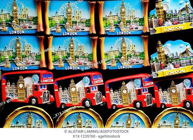 London souvenir fridge magnets, Portobello Road, Notting Hill, London, England, UK
