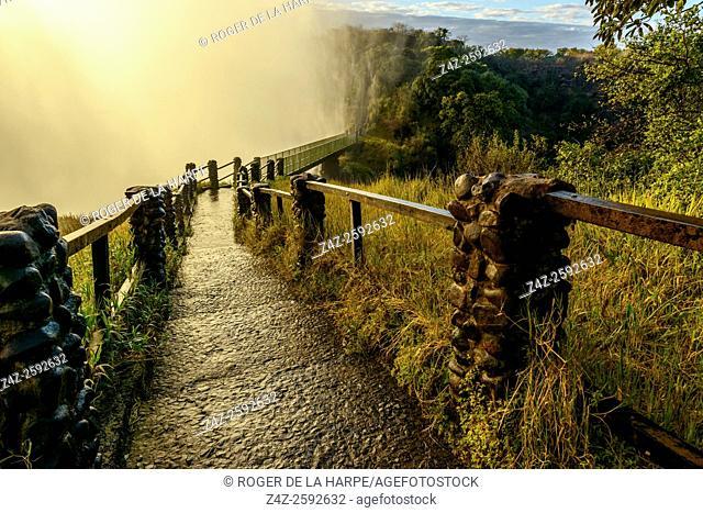 The path and bridge to The Knife Edge. Victoria Falls. Zambia