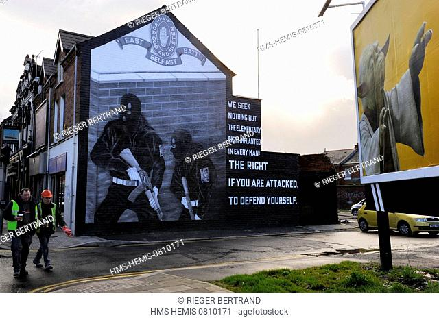 United Kingdom, Northern Ireland, East Belfast, protestant loyalist districts of Newtownards road, political wall paintings to the glory of Loyalist militias