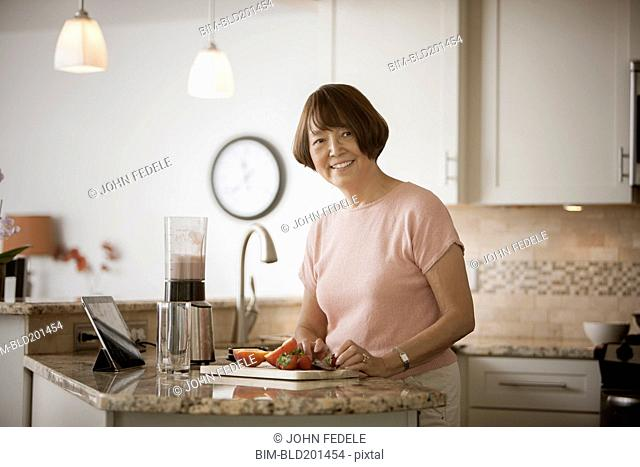 Asian woman preparing food