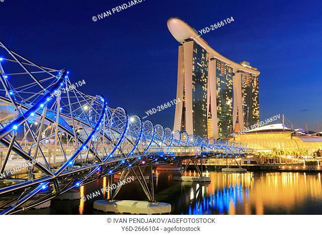 Marina Bay Sands and Helix Bridge at Dusk, Singapore