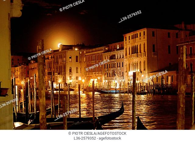 Venice. Canale Grande at moonrise