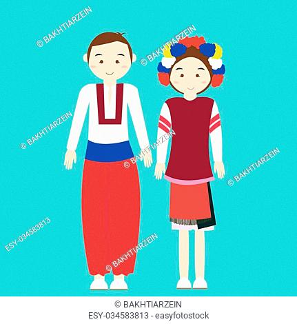 couple wear ukraininan ukranian traditional clothes vector cartoon illustration custom