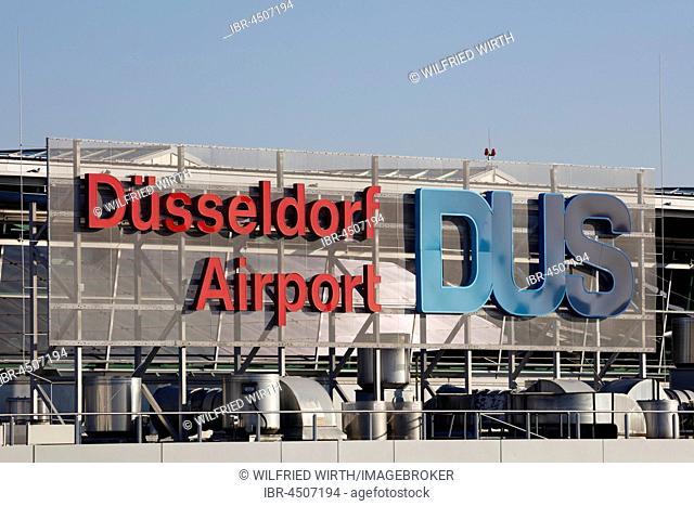 Inscription Düsseldorf Airport DUS, Düsseldorf Airport, Düsseldorf, North Rhine-Westphalia, Germany