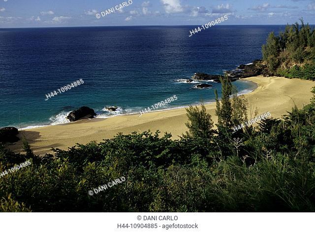 lava point, Lumahai Beach, Kauai Island, Hawaii, USA, United States, America
