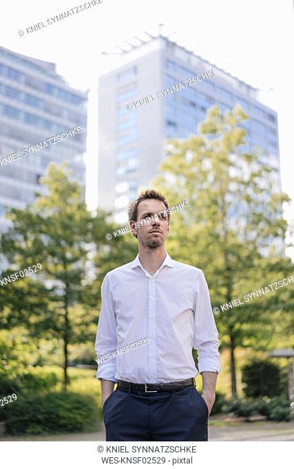 Portrait of confident businessman in the city