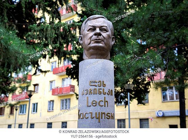The monument of former Polish President Lech Kaczynski in Tbilisi, Georgia