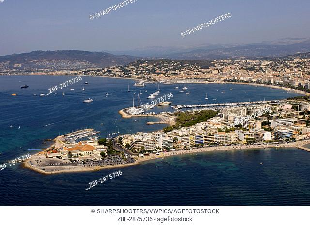 Cap de la Croisette and Palm Beach Casino, Cannes, View from Helicopter, Cote d'Azur, France