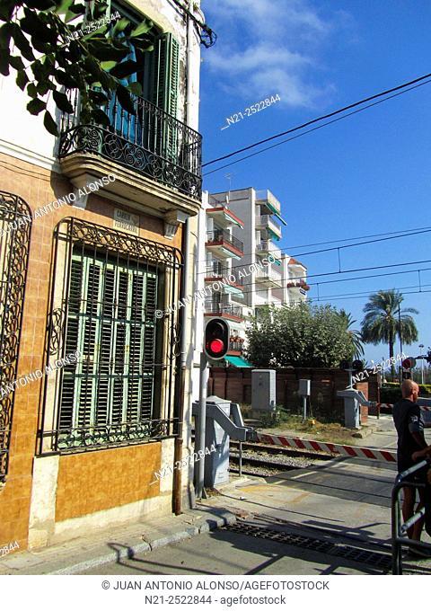 Railway crossing. Sant Pol de Mar. Maresme, Province of Barcelona, Catalonia, Spain, Europe