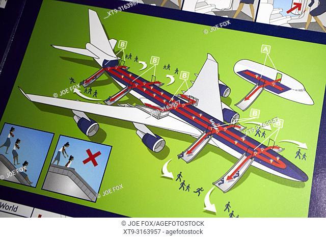 emergency exit slide location Safety on Board british airways flight safety card information