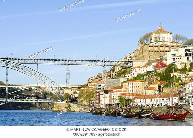 View from the old town Ribeira in Porto towards Vila Nova de Gaia and the bridge Ponte Dom Luis I . City Porto (Oporto) at Rio Douro in the north of Portugal