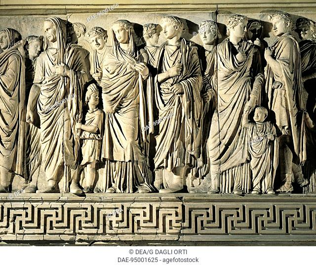 Roman civilization, 1st century BC. Reconstructed monumental Ara Pacis Augustae, erected 13-9 BC to celebrate Augustean policy