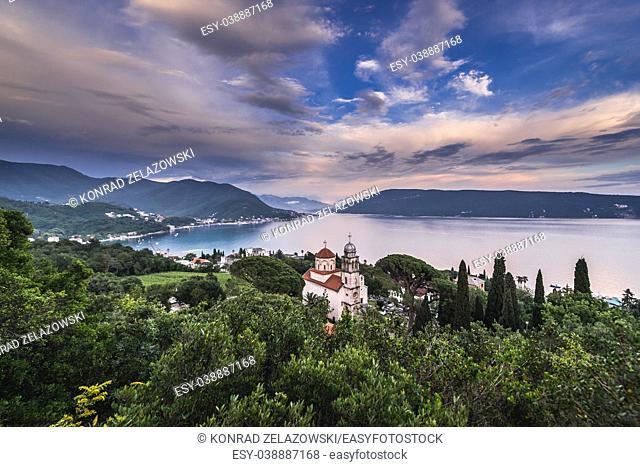 View on Bay of Kotor with Great Temple of Dormition of Mother of God in Savina Monastery in Savinska Dubrava park in Herceg Novi, Montenegro