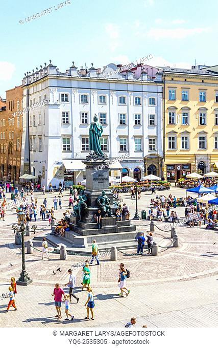 Adam Mickiewicz monument, Old Market Square, Krakow, Poland