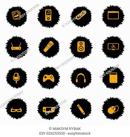 Media vector icons for web sites and user interface