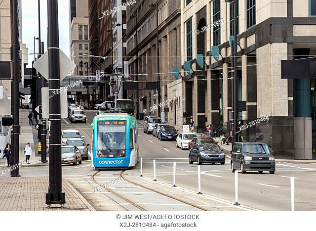 Cincinnati, Ohio - The Cincinnati Bell Connector, a streetcar operating on a 3. 6-mile downtown loop