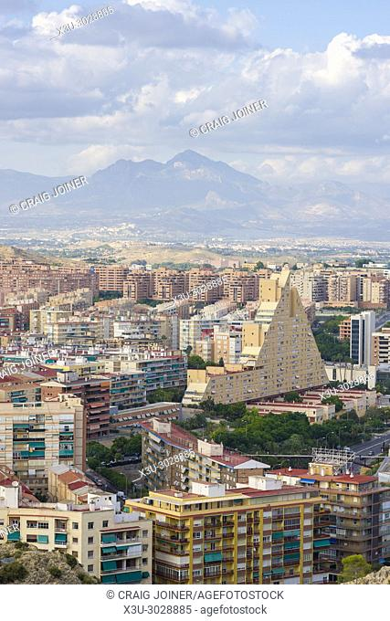Aerial view over Alicante City from Santa Barbara Castle on Mount Benacantil, Spain