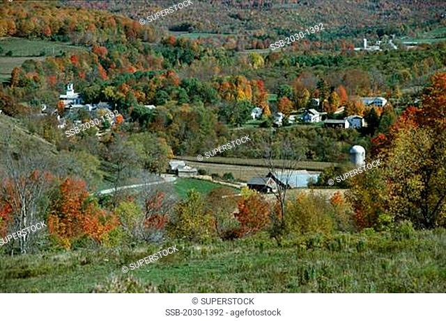 High angle view of a town, Pawlet, Vermont, USA
