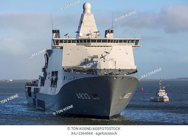 Dutch naval (joint support ship) vessel KAREL DOORMAN came back from ebola mission with three stowaways from Senegal